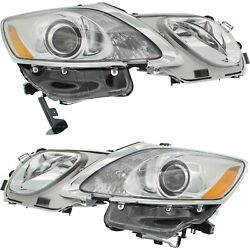 Headlight For 2007-2011 Lexus Gs350 With Hlw Holes Pair Lh And Rh