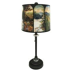 Royal Designs Oil Rub Bronze Lamp With Seasons Stained Glass Multi