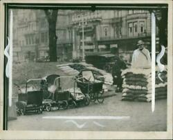 Empty Prams Parked At The Entrance Of An Undergroun - Vintage Photograph 1188476