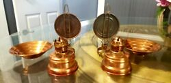 Two Vtg. Hilco Metal Kerosene Lantern With Reflector And Shades Wall Or Tbl.lamps.