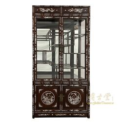 Vintage Chinese Mother Of Pearl Inlay Rosewood Display/curio Cabinet