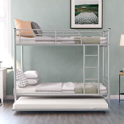 Bunk Beds Kid Metal Twin Over Twin Bed Roll-out Trundle Frame Storage Save Space