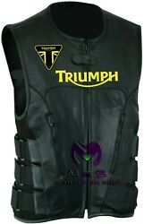 Customized Black Cowhide Triumph Logo Motorcycle Racing Leather Vest Waistcoats