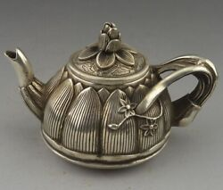Rare Oriental Brass Teapot Vintage Signed Carved Lotus Collection Statues Décor