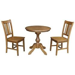 30 Round Top Dining Table With 2 San Remo Chairs - 3 Piece Pecan N/a