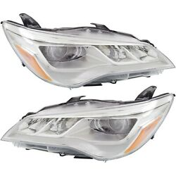Headlight Set For 2015-2017 Toyota Camry Xle Left And Right Led With Bulb 2pc
