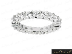 2.45ct Round Diamond Accent Shared Prong Eternity Band Ring 14k White Gold F Vs2