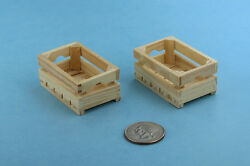Set Of 2 Dollhouse Miniature 112 Scale Wooden Fruit Or Vegetable Crates Sd1753