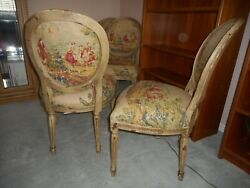 New W/ Tags French Louis Xvi Dining Chairs By Hickory Chair Co Distressed Linen