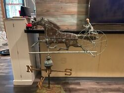 Antique 32 Copper Horse And Sulky Weathervane W/ Jockey And Directionals
