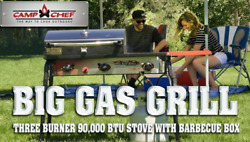 Camp Big Chef Gas Bbq Grill 3-burner Outdoor Stove With Bbq Box Accessory New