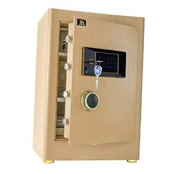 Digital Security Safe Box For Home Office Double Safety Key Lock And Gold