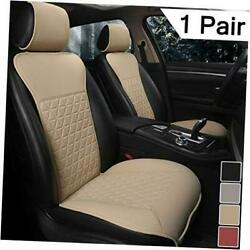 1 Pair Luxury Pu Car Seat Covers Protectors For Front Seats, Triangle Beige
