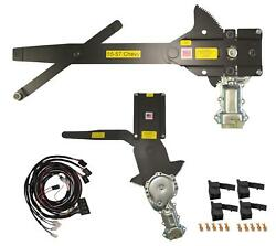 55-57 Chevy Front Door And Rear Power Window Kit W Black Illuminated Switches