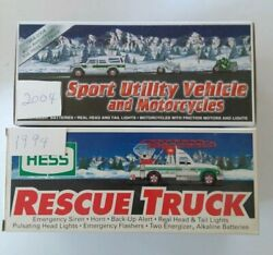 2 Hess Trucks 2004 Sports Utility Vehicle 1994 Rescue Truck Condition Is New