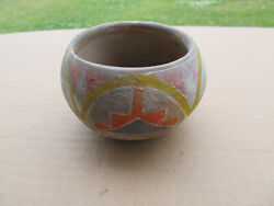 Vintage Native American Indian Red Clay Pottery Bowl Painted Design Pueblo Hopi