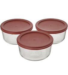 Anchor Hocking Classic Glass Food Storage Containers W. Red Lids 2 Cup 6 Piece