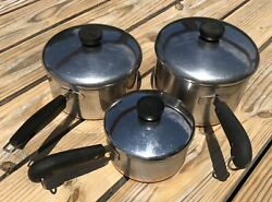 Vtg Revere Ware Ss 1801 6 Piece 3 Sauce Pan And Lids Copper Clad Double Ring Usa