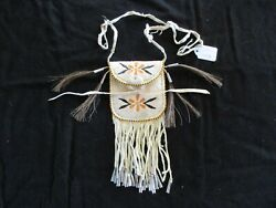 Native American Quilled Leather Medicine Bag, Beaded Tobacco Pouch Sd-062105506
