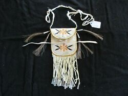 Native American Quilled Leather Medicine Bag Beaded Tobacco Pouch Sd-062105506