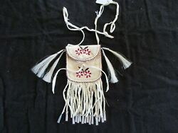 Native American Quilled Leather Medicine Bag, Beaded Tobacco Pouch Sd-062105505