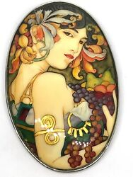 New Rare Amy Kahn Russell Signed Hand Painted Art Nouveau Sterling Pendant Pin