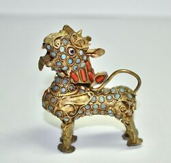 Vintage Chinese Tibetan Brass Coral Turquoise Foo Dog Lion Small
