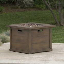Ellington Outdoor Square Gas Fire Pit With Lava Rocks By