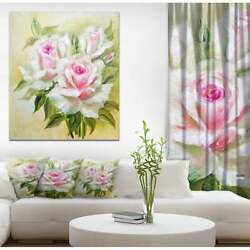Designart And039three Pink Rosesand039 Floral Print On Wrapped Canvas Mini