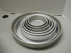 Wilton And Fat Daddios 5 6 7 8 10 12 And 14 Round 3 Cake Pans Aluminum Lot Of 9