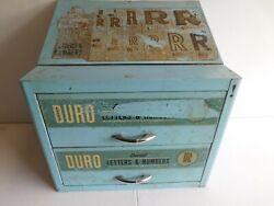 Vintage Duro 2 Drawer Metal Sign Decal Cabinet Loaded With Letters And Numbers