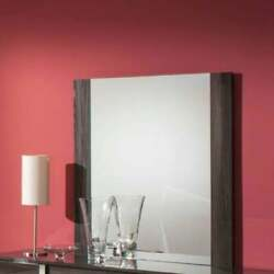 Contemporary Grey Vertically Wood Framed Mirror - Clear Clear Wood