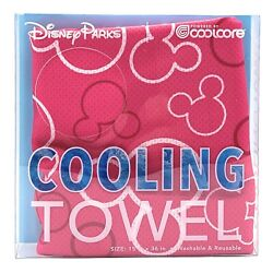 Disney Parks Mickey Coolcore Cooling Towel Pink 15 X 36 Chemical Free - New
