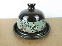 2013 Eldreth Redware Pottery Butter Dish Dome Stars And Berries Itb8
