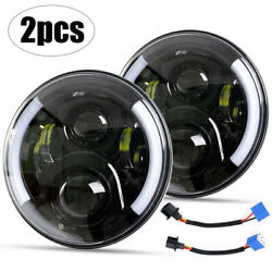 2x Dot Motorcycle 5-3/4 5.75 Led Headlight Projector Halo Ring Drl Turn Signals