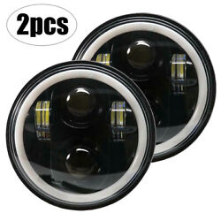 2x 5.75 5 3/4 Round Motorcycle Led Headlight Black For Dyna Sportster 1200 883
