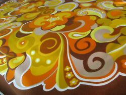 1960s Psychedelic Rayon Tablecloth Spectacular Rare 160 Cm