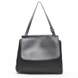 The Row Black Smooth Leather Minimalist Flap Front Gold Buckle Shoulder Bag