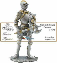 Pewter Knight W/battleaxe 1555 Medieval Armour Myths And Legends Knights 7692