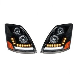 Blackout Led Headlight W/ Turn Signal And Position Light For 04-17 Volvo Vn/vnl