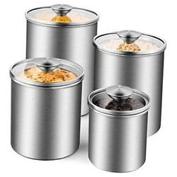 Airtight Canister Set 4-piece Stainless Steel Food Storage Container Silver