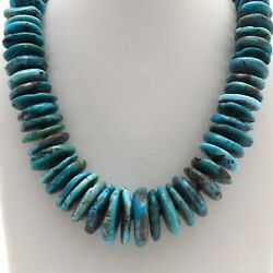 Native American Navajo Sleeping Beauty Turquoise Wheels Sterling Silver Necklace