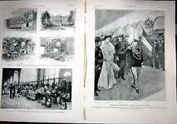 Original Old Antique Print Royal Italian King Wqeen Visit France French 1903