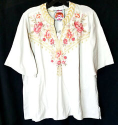 Nwt Johnny Was Sz Xl Rianne Tee Top Embroidered Cotton Knit Floral Sand Tan