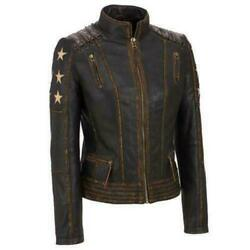 Women Real Leather Brown Distressed Soft Ladies Genuine Leather Jacket