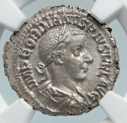 Gordian Iii Authentic Ancient 240ad Silver Roman Coin Salus W Serpent Ngc I89842