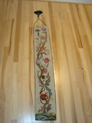 Vintage American Colonial Style Hand Embroidered Hooked 45 Bell Pull Tapestry