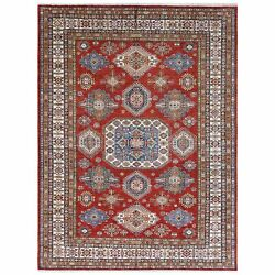 8and03910x11and0399 Hand Knotted Red Super Kazak With Geometric Natural Wool Rug R61143