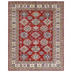 8and039x10and039 Hand Knotted Red Geometric Design Super Kazak Wool Oriental Rug R61152