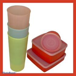 Mixed Vintage Lot 6 Tupperware Pastel Tumblers Lunch Snack Boxes